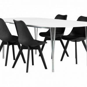 George Pöytä 160 Valkea + 4 Peace Tuoli Musta/Musta