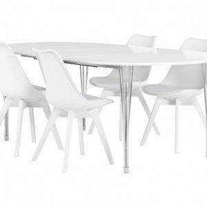 George Pöytä 160 Valkea + 4 Peace Tuoli Valkea/Valkea