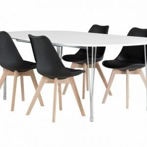 George Pöytä 160 Valkea + 4 Peace Tuolia Musta/Tammi
