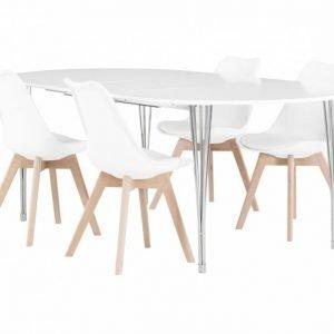 George Pöytä 160 Valkea + 4 Peace Tuolia Valkea/Tammi