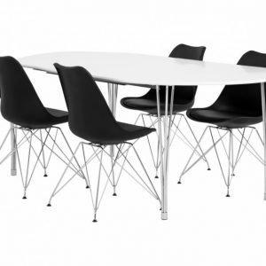 George Pöytä 160 Valkea + 4 Shello Tuolia Musta/Kromi