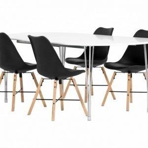 George Pöytä 160 Valkea + 4 Shello Tuolia Musta/Tammi