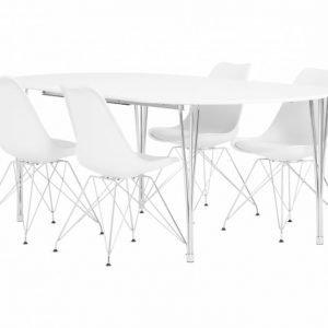 George Pöytä 160 Valkea + 4 Shello Tuolia Valkea/Kromi