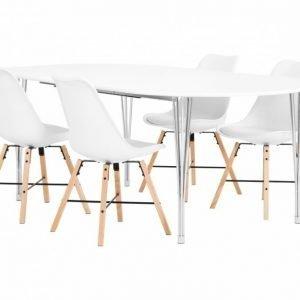 George Pöytä 160 Valkea + 4 Shello Tuolia Valkea/Tammi