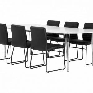 George Pöytä 160 Valkea + 6 Frio Tuolia Musta