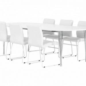 George Pöytä 160 Valkea + 6 Frio Tuolia Valkea