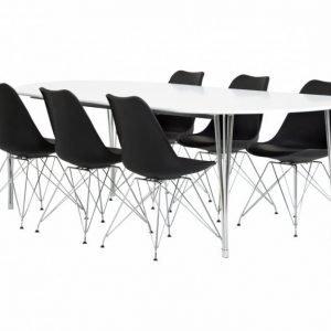 George Pöytä 160 Valkea + 6 Shello Tuolia Musta/Kromi