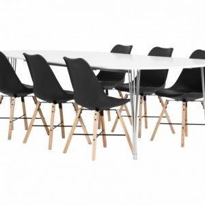 George Pöytä 160 Valkea + 6 Shello Tuolia Musta/Tammi