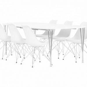 George Pöytä 160 Valkea + 6 Shello Tuolia Valkea/Kromi