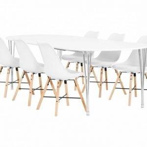George Pöytä 160 Valkea + 6 Shello Tuolia Valkea/Tammi