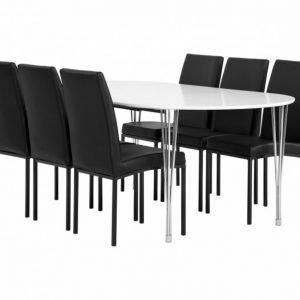 George Pöytä 160 Valkea + 6 Simona Tuolia Musta