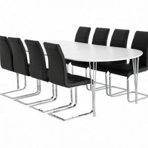 George Pöytä 160 Valkea + 8 EmÅn Tuolia Musta