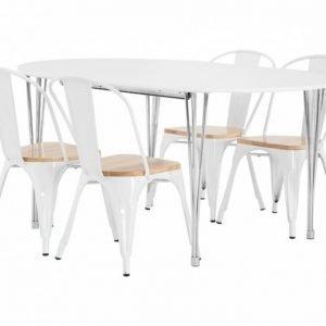 George Pöytä 160 Valkoinen + 4 Cannes Tuoli Valkoinen/Puu