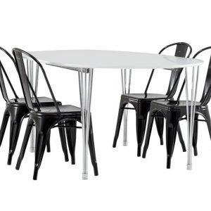George Pöytä 160 Valkoinen + 4 Cannes Tuolia Musta