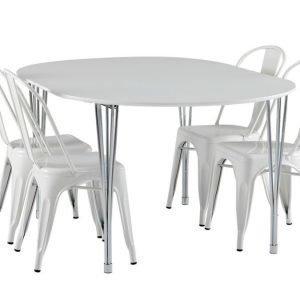 George Pöytä 160 Valkoinen + 4 Cannes Tuolia Valkoinen