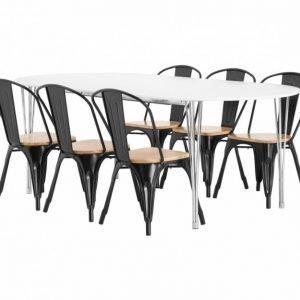 George Pöytä 160 Valkoinen + 6 Cannes Tuoli Musta/Puu