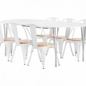 George Pöytä 160 Valkoinen + 6 Cannes Tuoli Valkoinen/Puu