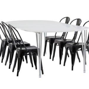 George Pöytä 160 Valkoinen + 6 Cannes Tuolia Musta