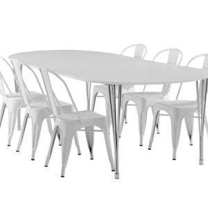 George Pöytä 160 Valkoinen + 6 Cannes Tuolia Valkoinen