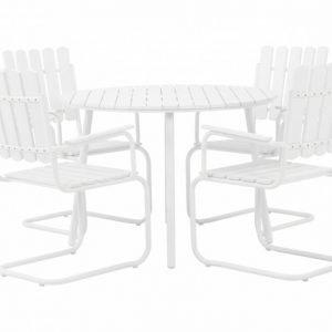 Granhamn Pöytä + 4 Nojatuolia Valkoinen