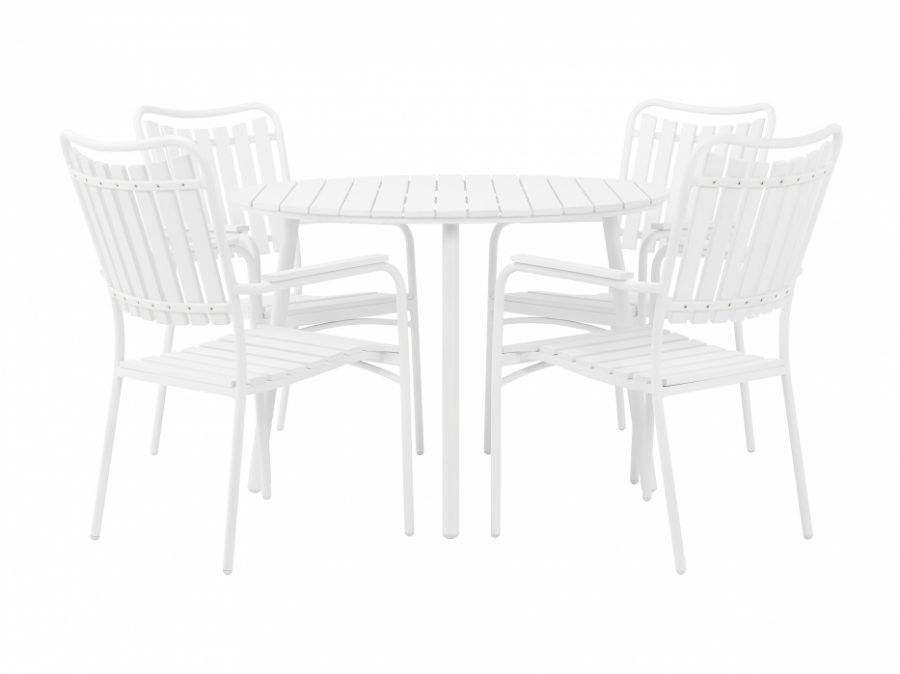 Granhamn pöytä + 4 Pinottavaa Nojatuolia Valkea