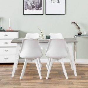 Grimstad Pöytä 140 Betoni/Valkoinen + 4 Peace Tuoli Valkoinen