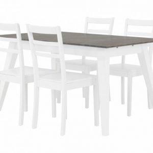 Grimstad Pöytä 140 Betoni/Valkoinen + 4 Sjöberg Tuoli Valkoinen