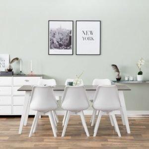 Grimstad Pöytä 190 Betoni/Valkoinen + 6 Peace Tuoli Valkoinen