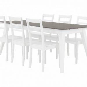 Grimstad Pöytä 190 Betoni/Valkoinen + 6 Sjöberg Tuoli Valkoinen