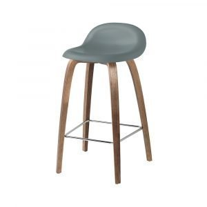 Gubi 3d Baarituoli Walnut / Rainy Grey H65 Cm