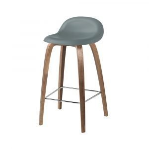 Gubi 3d Baarituoli Walnut / Rainy Grey H75 Cm