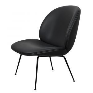 Gubi Beetle Lounge Chair Tuoli Musta Nahka Savanne