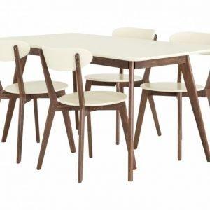 Habana Pöytä 160 + 4 Tuolia Saksanpähkinä/Offwhite