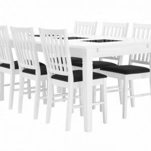 Halmstad Pöytä 180 Valkoinen + 6 Bergström Tuoli Valkoinen/Harmaa
