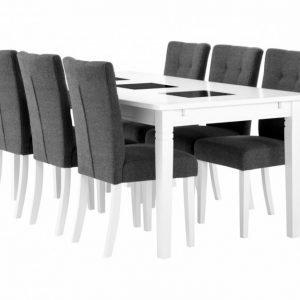 Halmstad pöytä 180 Valkea + 6 Kungälv Tuoli Harmaa