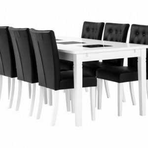 Halmstad pöytä 180 Valkea + 6 Kungälv Tuoli Musta