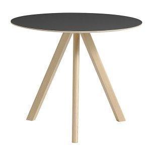 Hay Copenhague Cph20 Pyöreä Pöytä Mattalakattu Musta Lino 90 Cm