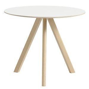 Hay Copenhague Cph20 Pyöreä Pöytä Mattalakattu Tammi Valkoinen Lam. 90 Cm