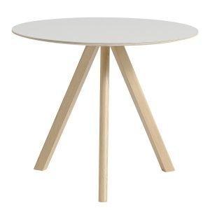Hay Copenhague Cph20 Pyöreä Pöytä Mattalakattu Tammi Valkoinen Lino 90 Cm