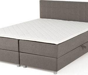 Jenkkisänkypaketti Pito 160x200 cm säilytystilalla ja tikatulla sängynpäädyllä 160x100 cm vaaleanharmaa
