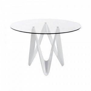 Julia Eos Pöytä Valkoista Lasikuitua / Läpinäkyvää Lasia 120x76 Cm