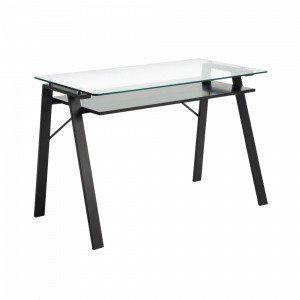 Julia Sauk Kirjoituspöytä Metallia / Läpinäkyvää Lasia Lasia 120x62 Cm