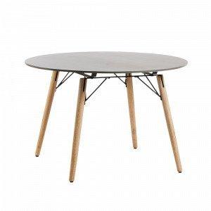 Julia Tropo Pöytä Eukalyptuspuuta / Polysementtiä Harmaa Ø 120 Cm