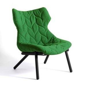 Kartell Foliage Nojatuoli Vihreä Mustilla Jaloilla Kangastoppaus