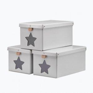 Kids Concept Kenkälaatikot 3-Pakkaus Harmaa