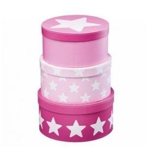 Kids Concept Star Pahvirasiat 3-Pakkaus Vaaleanpunainen