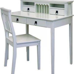 Kirjoituspöytä Kauno tuolilla valkoinen