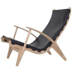 Klassik Studio Pv Lounge Chair Nojatuoli Tammi Musta Nahka