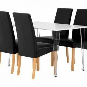 Kronberg Pöytä 120 Matta + 4 Falun Tuolia Musta/Luonnonvärinen