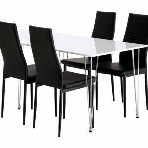 Kronberg Pöytä 120 Valkoinen Kiiltävä + 4 GranÅn Tuolia Musta